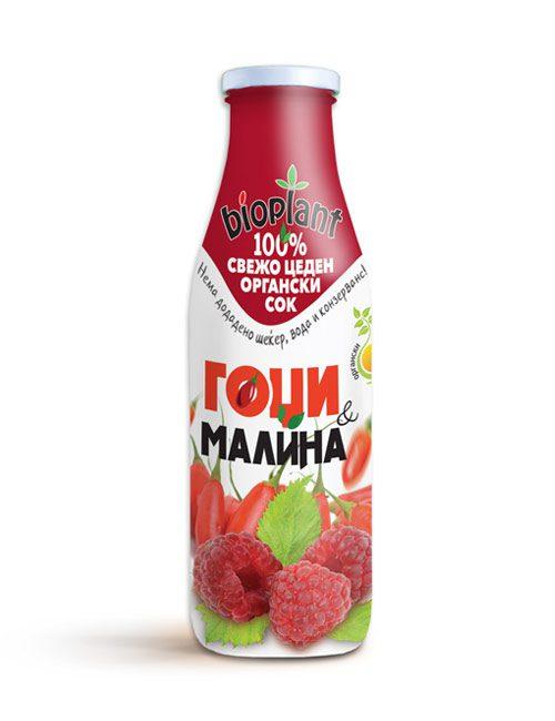 Биоплант органски сок од гоџи и малина 250 ml